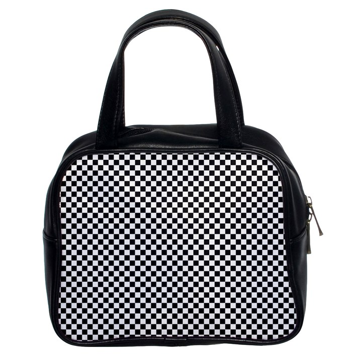 Sports Racing Chess Squares Black White Classic Handbags (2 Sides)