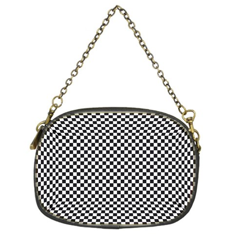 Sports Racing Chess Squares Black White Chain Purses (One Side)
