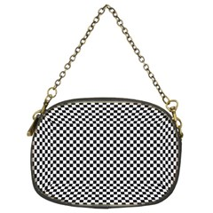 Sports Racing Chess Squares Black White Chain Purses (two Sides)