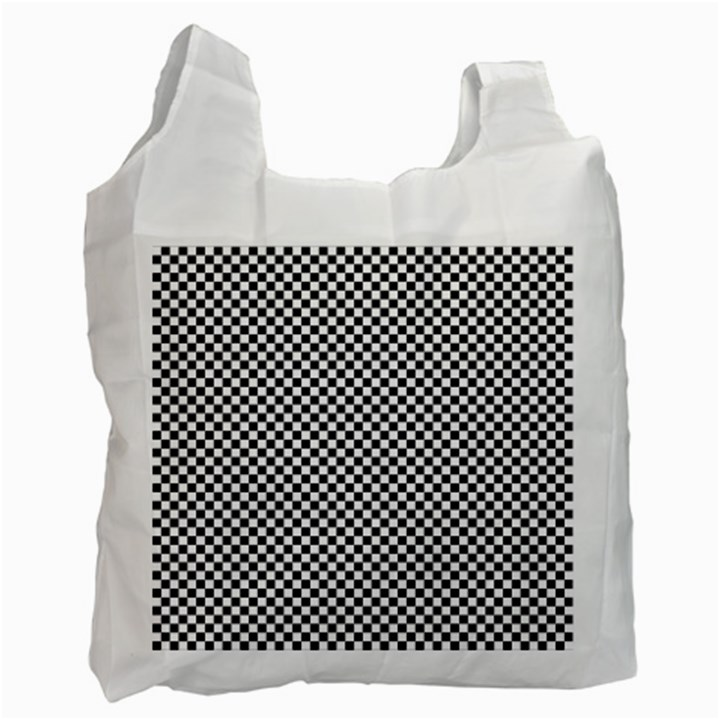 Sports Racing Chess Squares Black White Recycle Bag (Two Side)