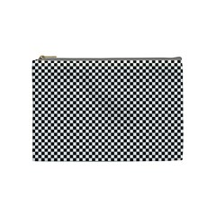 Sports Racing Chess Squares Black White Cosmetic Bag (medium)
