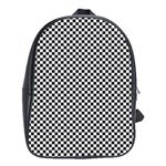 Sports Racing Chess Squares Black White School Bags(Large)  Front