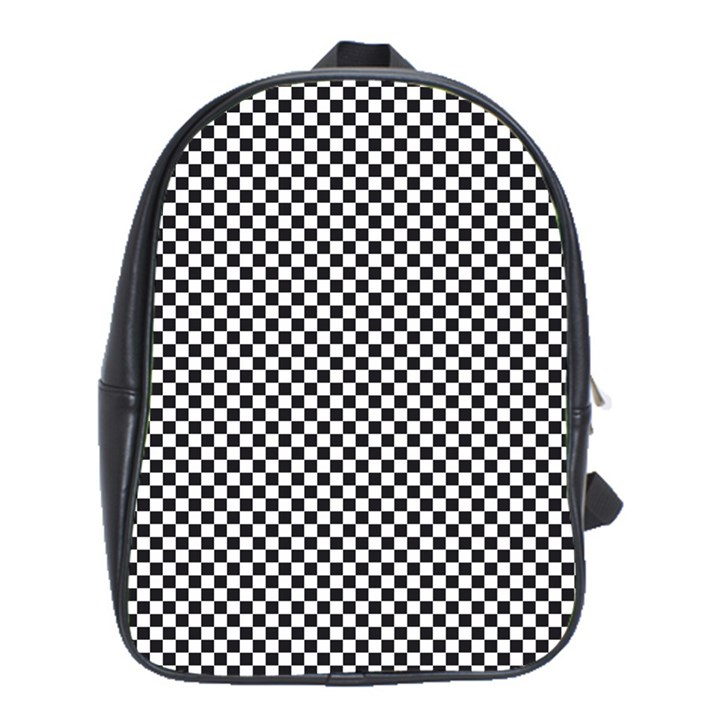 Sports Racing Chess Squares Black White School Bags(Large)