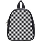 Sports Racing Chess Squares Black White School Bags (Small)  Front