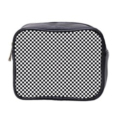 Sports Racing Chess Squares Black White Mini Toiletries Bag 2 Side