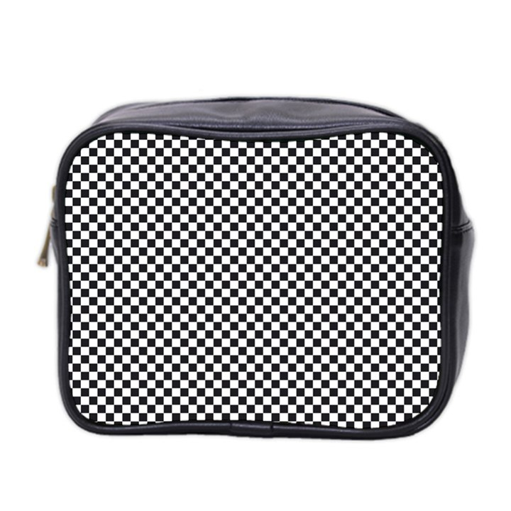 Sports Racing Chess Squares Black White Mini Toiletries Bag 2-Side