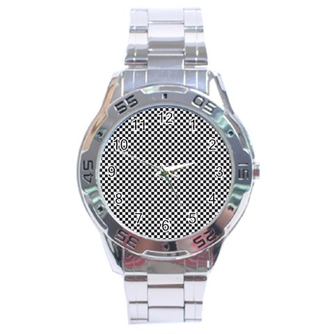 Sports Racing Chess Squares Black White Stainless Steel Analogue Watch