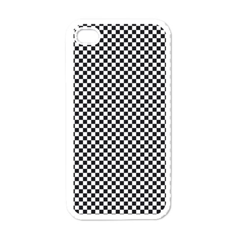 Sports Racing Chess Squares Black White Apple iPhone 4 Case (White)