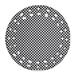 Sports Racing Chess Squares Black White Ornament (Round Filigree)  Front