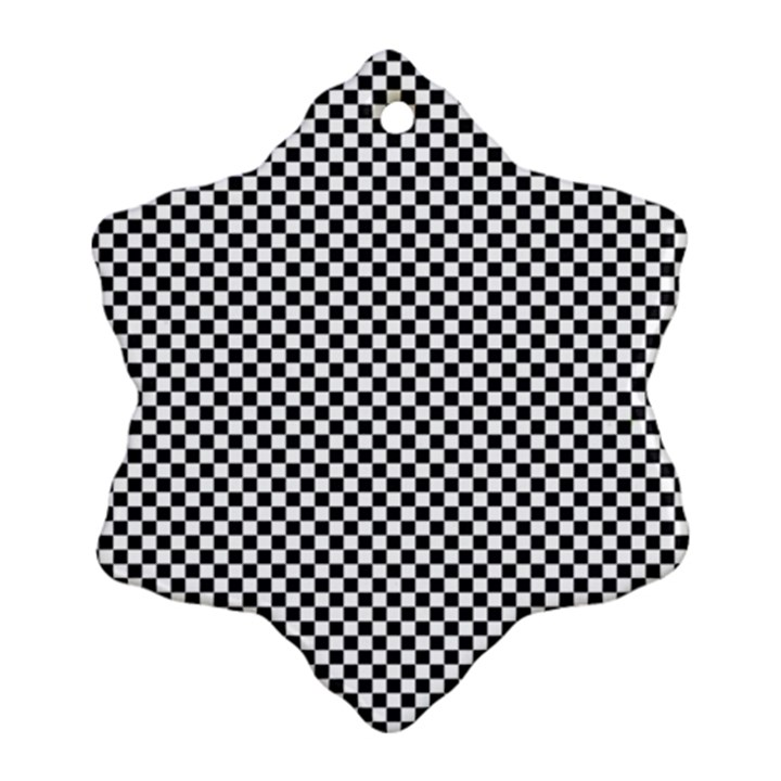 Sports Racing Chess Squares Black White Ornament (Snowflake)