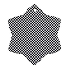 Sports Racing Chess Squares Black White Snowflake Ornament (2 Side)