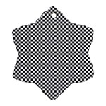 Sports Racing Chess Squares Black White Snowflake Ornament (2-Side) Back