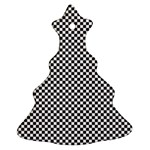 Sports Racing Chess Squares Black White Christmas Tree Ornament (2 Sides) Front