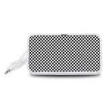 Sports Racing Chess Squares Black White Portable Speaker (White)  Front