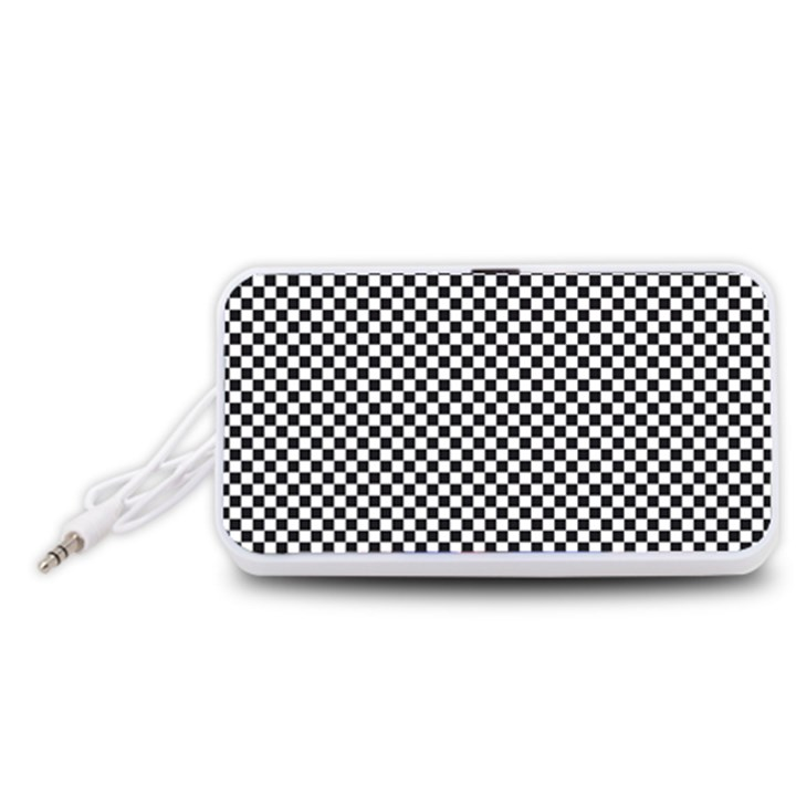 Sports Racing Chess Squares Black White Portable Speaker (White)