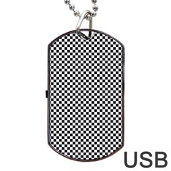 Sports Racing Chess Squares Black White Dog Tag USB Flash (One Side)