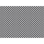 Sports Racing Chess Squares Black White Ribbon 3D Greeting Card (7x5) Front