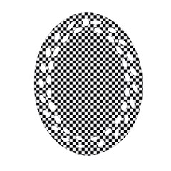 Sports Racing Chess Squares Black White Ornament (Oval Filigree)