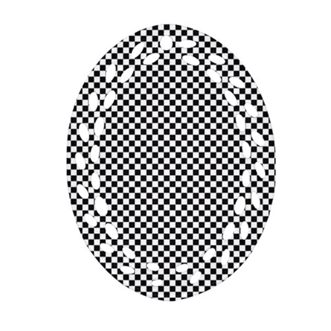 Sports Racing Chess Squares Black White Oval Filigree Ornament (2-Side)