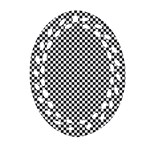 Sports Racing Chess Squares Black White Oval Filigree Ornament (2-Side)  Back