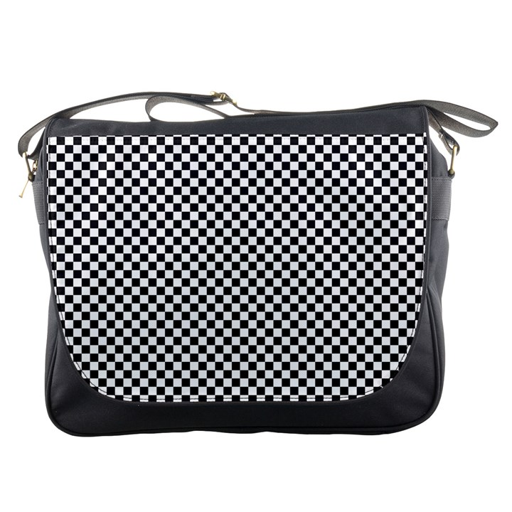 Sports Racing Chess Squares Black White Messenger Bags
