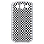 Sports Racing Chess Squares Black White Samsung Galaxy S III Case (White) Front