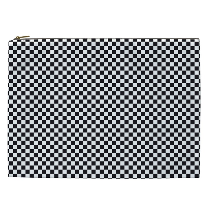 Sports Racing Chess Squares Black White Cosmetic Bag (XXL)