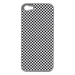 Sports Racing Chess Squares Black White Apple iPhone 5 Case (Silver) Front
