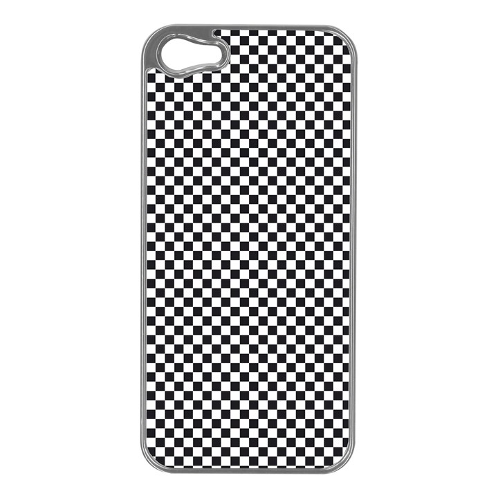 Sports Racing Chess Squares Black White Apple iPhone 5 Case (Silver)