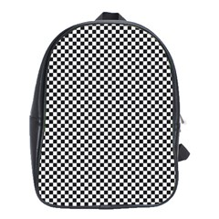 Sports Racing Chess Squares Black White School Bags (XL)
