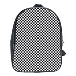 Sports Racing Chess Squares Black White School Bags (XL)  Front