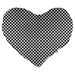 Sports Racing Chess Squares Black White Large 19  Premium Heart Shape Cushions