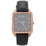 Sports Racing Chess Squares Black White Rose Gold Leather Watch  Front