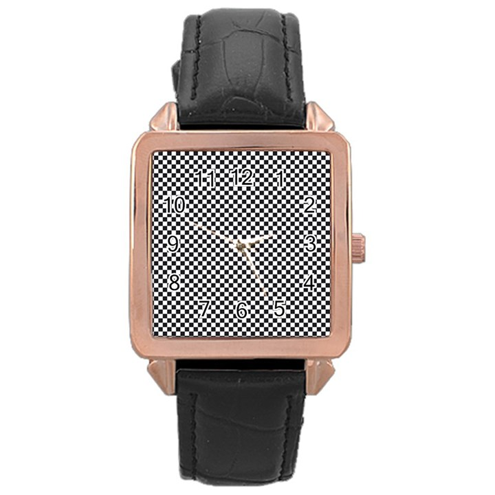 Sports Racing Chess Squares Black White Rose Gold Leather Watch
