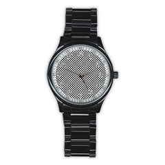 Sports Racing Chess Squares Black White Stainless Steel Round Watch