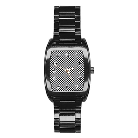 Sports Racing Chess Squares Black White Stainless Steel Barrel Watch