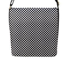 Sports Racing Chess Squares Black White Flap Messenger Bag (L)