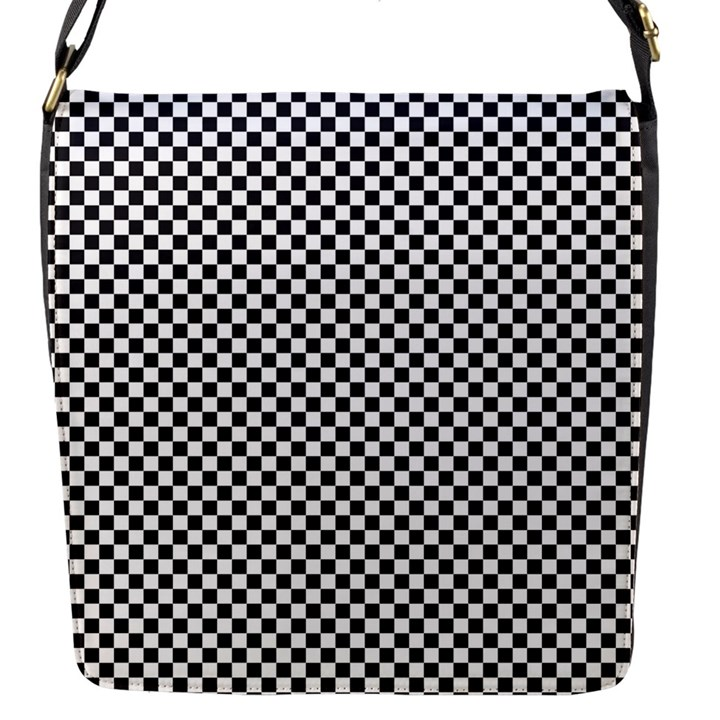 Sports Racing Chess Squares Black White Flap Messenger Bag (S)