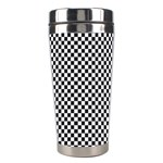 Sports Racing Chess Squares Black White Stainless Steel Travel Tumblers Left