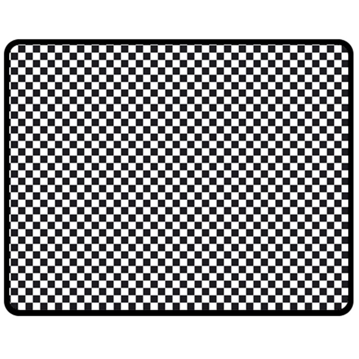 Sports Racing Chess Squares Black White Double Sided Fleece Blanket (Medium)