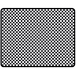 Sports Racing Chess Squares Black White Double Sided Fleece Blanket (Medium)  60 x50 Blanket Back