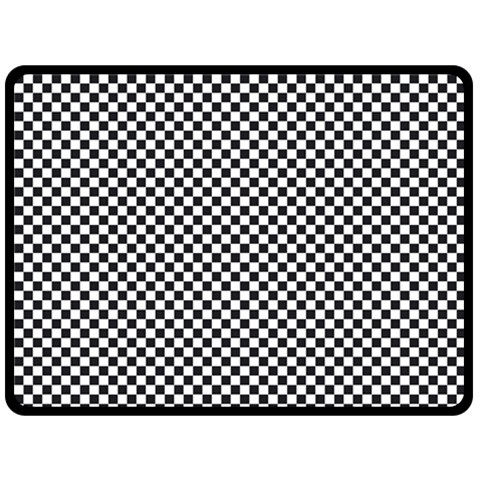 Sports Racing Chess Squares Black White Double Sided Fleece Blanket (Large)