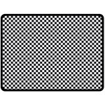 Sports Racing Chess Squares Black White Double Sided Fleece Blanket (Large)  80 x60 Blanket Back