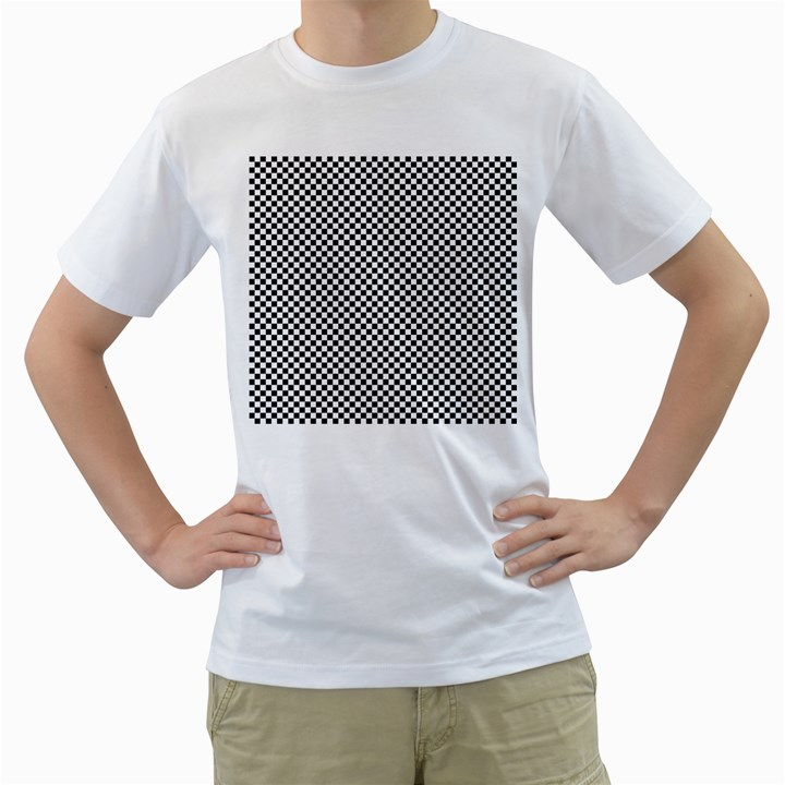 Sports Racing Chess Squares Black White Men s T-Shirt (White)
