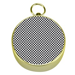 Sports Racing Chess Squares Black White Gold Compasses