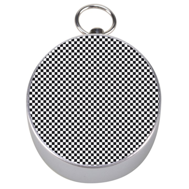 Sports Racing Chess Squares Black White Silver Compasses