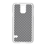 Sports Racing Chess Squares Black White Samsung Galaxy S5 Case (White) Front