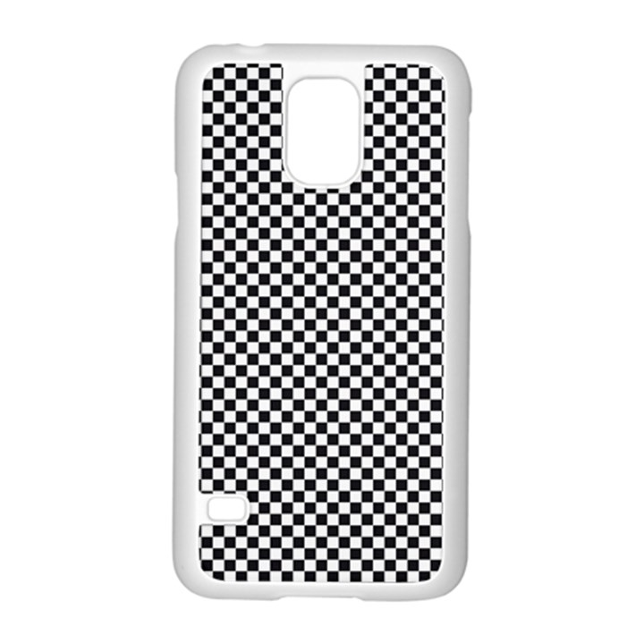 Sports Racing Chess Squares Black White Samsung Galaxy S5 Case (White)