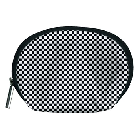 Sports Racing Chess Squares Black White Accessory Pouches (Medium)