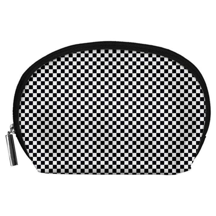Sports Racing Chess Squares Black White Accessory Pouches (Large)